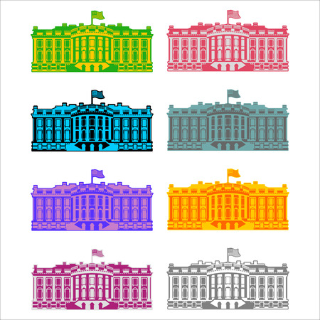 president of the usa: White House America colored icon set. Residence of President USA. US government building. American political character. Main attraction washington dc. patriotic mansion United States