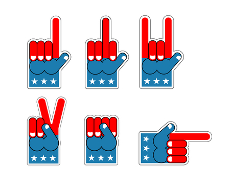 fanaticism: Foam Finger USA patriot. American sports symbol. Expression of emotions. Pattern of flag of America Illustration