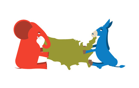 democrats: Elephant and Donkey divided map of America. USA political party. Republicans against Democrats. Presidential Election United States. race for power Illustration