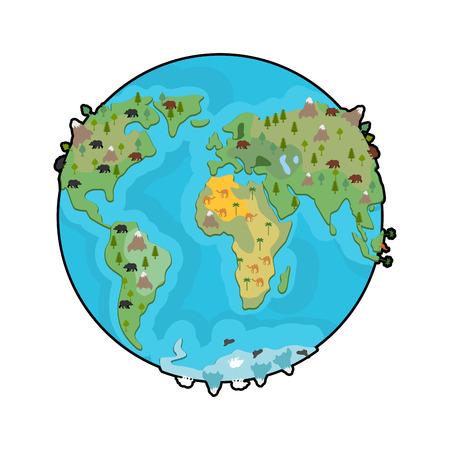 행성 지구와 동물. 대륙의 짐승. 세계지도. 야생 동물과 지형 지구