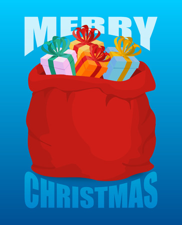 christmas present: Merry Christmas Full Santa Claus sack of gifts. Bag of with presents. Happy New Year toys for children