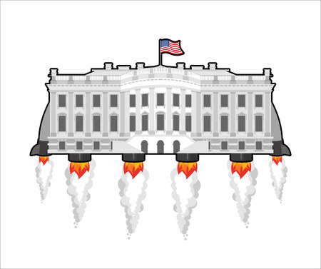 president of the usa: White house future with rocket turbo. USA President Residence in space. American National Palace flies. Government building connected. Fantastic main Landmarks Washington dc. Illustration