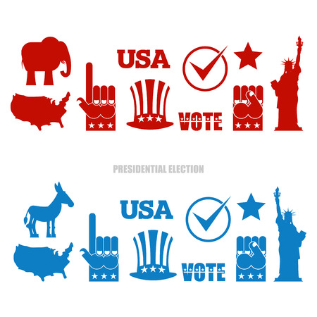 American Elections Sign Set. Republican Elephant And Democratic ...