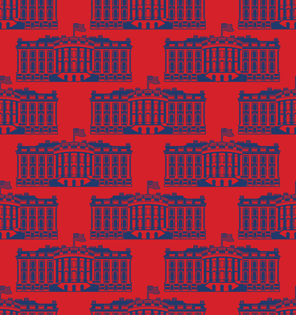 us congress: White House America seamless pattern. US President Residence. Government building USA ornament. Political American symbol texture. Main attraction washington dc Illustration