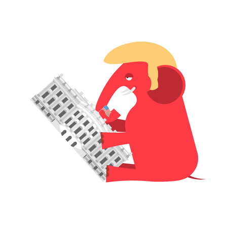 Republicans win White House. Flag red elephant. Political presidential elections in United States. Government Building America