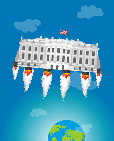 White house in space. USA President Residence rocket turbo. American National Palace flies. Government building connected to future. Fantastic main Landmarks Washington dc.