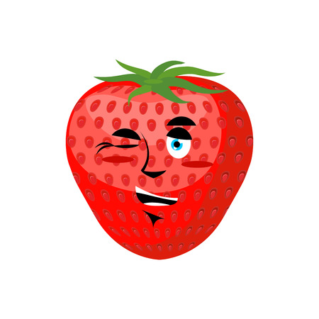 passion  ecology: Strawberry winks. Cheerful fruit. Juicy red berry Illustration