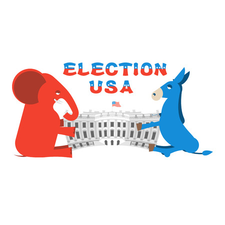 democrats: Elephant and Donkey divide White house. Republicans and Democrats share authority. Political presidential elections in United States. Government Building America