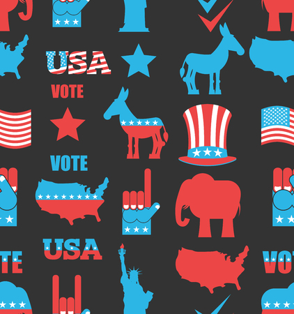 uncle sam hat: American Elections seamless pattern. Republican elephant and Democratic donkey ornament. Symbols of political parties in America bacground. Statue of Liberty and USA map. Fist and Uncle Sam hat. Naional texture