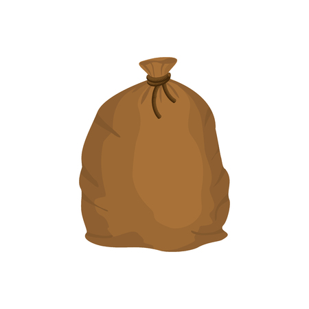 knotted: Big knotted sack of grain. Brown textile bag of potatoes. Farm object Illustration