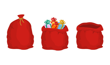 bagful: Red bag Santa Claus set. Large sack holiday for gifts. Big bagful for new year and Christmas