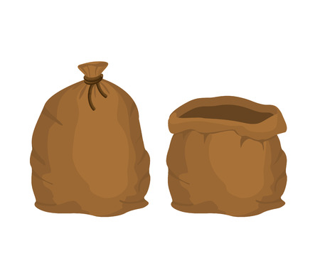 grain farm: Big knotted sack Full and empty. Brown textile bag of potatoes oder grain. Farm object