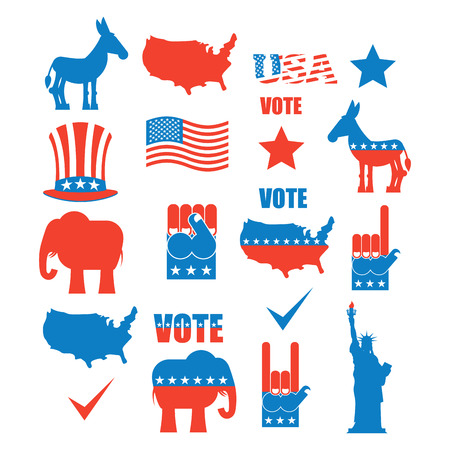 アメリカの選挙のアイコンを設定します。象共和党と民主党のロバ。アメリカの政党のシンボル。自由とアメリカ地図の像。拳とアンクルサムの帽
