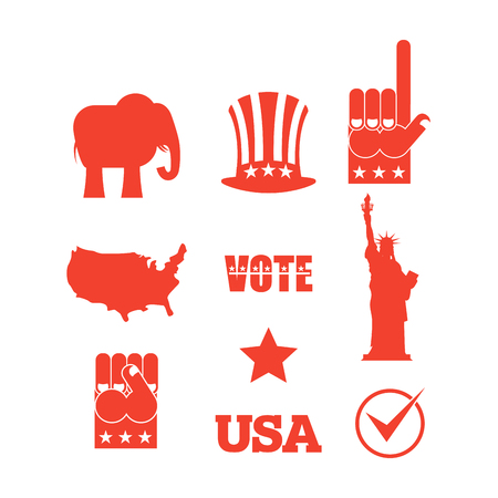 uncle sam hat: Republican elephant elections icon set. Symbols of political parties in America. Statue of Liberty and USA map. Fist and Uncle Sam hat