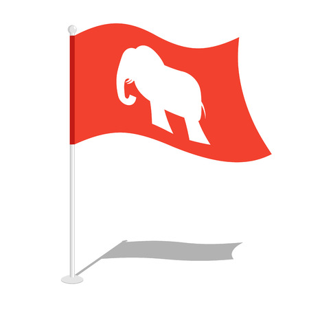Republican elephant Flag. National flag of presidential election in America. State symbol of United States political party Illustration