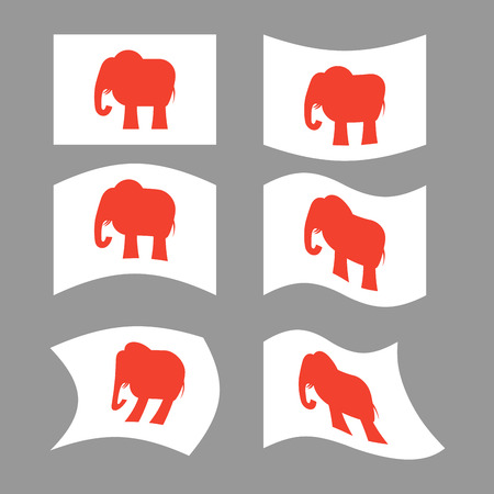 state election: Elephant Flag. Republican National flag of presidential election in America. State symbol of United States political party