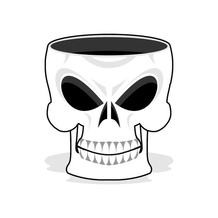 Skull jewelry box. Skeleton basket. Terrible pirate jewellery Illustration