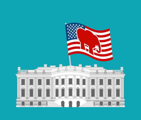 Republicans win White House. Flag red elephant. Political presidential elections in United States. Government Building America. patriotic mansion United States .