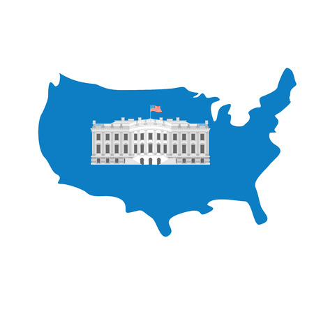 president of the usa: White House on map of America. Residence of President USA. US government building. American political character. Main attraction washington dc. patriotic mansion United States