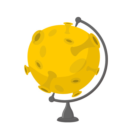 Moon school globe . Planet geographical sphere. yellow planet model. Astronomical objects or celestial body