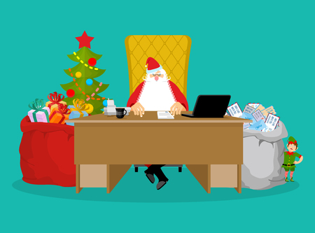 Santa job. Claus checks mail from children. Big bag of incoming post. Red gift sack of toys and sweets. Grandfather sits with his assistants for sitting at table in office. Santas Elves prepare gifts. Job desk Christmas Boss. Coffee and laptop. New Year p