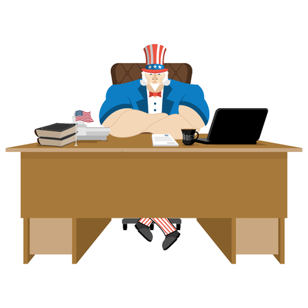 american table: American patriot boss. Uncle Sam sitting in office. Businessman from United States at table. Workplace supervisor. Director desktop. Laptop and phone. Cup of coffee and Chair. Flag USA Illustration