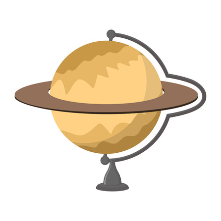 planetarium: Saturn School globe. Planet geographical sphere. Model of  planet Saturns rings. Astronomical objects or celestial body