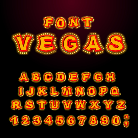 Vegas font. Glowing lamp letters. Retro Alphabet with lamps. Vintage show ABC with light bulb. Glittering lights lettering