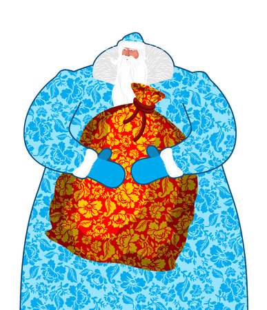 moroz: Santa Claus in Russia. Father Frost costume painting gzhel national pattern. Big bag with gifts. Full sack Khokhloma ornament folk texture. Christmas character. Illustration for new year Illustration
