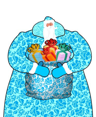 moroz: Santa Claus in Russia. Father Frost costume painting gzhel national pattern. Big bag with gifts. Full blue sack ornament folk texture. Christmas character. Illustration for new year
