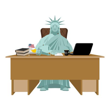 director chair: Statue of Liberty sitting in office. American boss at table. Businessman from United States at desk. Workplace supervisor. Director desktop. Laptop and phone. Cup of coffee and   Chair. Flag USA Illustration