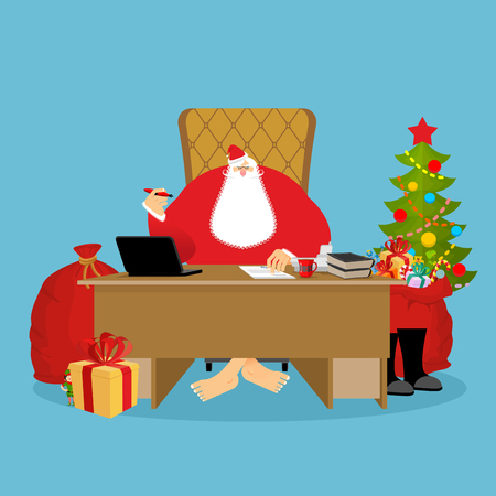 director chair: Santa Claus Office. Christmas work. Desk and chair boss. Grandpa director of new year. Santas Magic Residence at North Pole. Workplace and red gift bag. fir-tree. Workplace and red sack