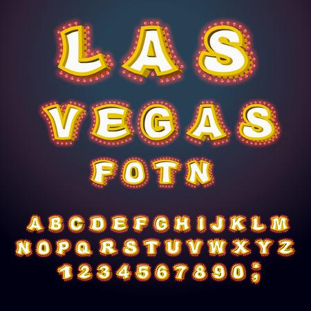 ラスベガスのフォントです。白熱ランプの文字。ランプとレトロなアルファベット。ヴィンテージは、電球と ABC を示しています。レタリングきらびやかなライト 写真素材 - 66667061