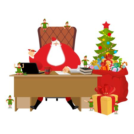 lapland: Santas Working office. Claus at work. Christmas elf helper. Big red bag with gifts for children. Desk and chair boss. New Year director. phone and documents. Large sack of Toys and sweets. Workplace Chief. Magic residence in Lapland. decorated Christmas t Illustration