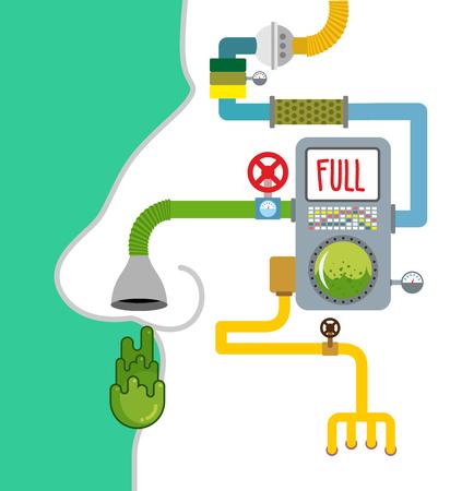 Produkcja Booger. Automatyczna linia dla przemysłu snivel. Snot fabryka. System wydalniczy osoby. technologia produkcji zielonego śluzu w ludzkiej głowie