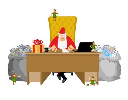 lapland: Santa Claus job. Letters from children. Big sack of mail envelopes. Santas Office In Lapland. Christmas elf helpers. Treatment of childrens correspondence. Fabulous Residence. Work Table Boss. New Year workplace