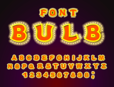 Bulb font. Glowing letters. Retro Alphabet with lamps. ABC pointer with light bulb. Vintage Glittering lights lettering