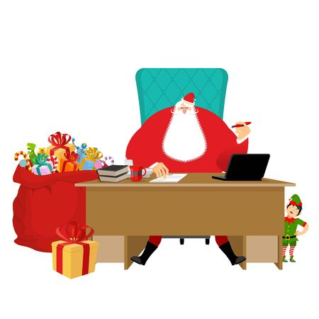 director chair: Santa Claus Office. Christmas work. Desk and chair boss. Grandpa director of new year. Cheerful elf. Santas Magic Residence at North Pole. Workplace and red gift bag.  fir-tree. Workplace and red sack