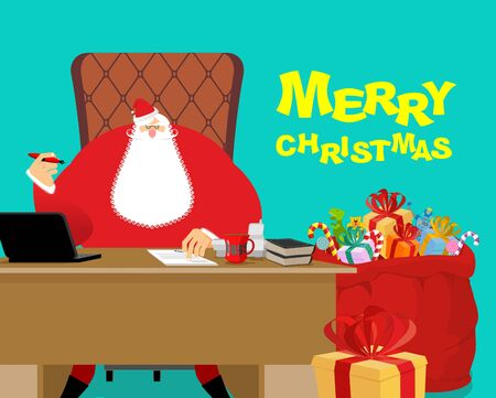 Merry Christmas. Santa Claus at work. Big red bag with gifts for children. Desk and chair boss. New Year director. phone and documents. Large sack of Toys and sweets. Workplace Chief. Magic office North Pole Illustration