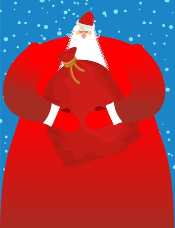 Santa Claus with sack of gifts. Big red festive bag. Great Grandpa with white beard and red suit. Illustration for Christmas and New Year. Large sackful toys and sweets