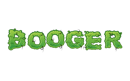 ooze: Booger Green slime letters. Snot slippery lettering. Snvel typography