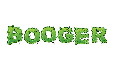 Booger Green slime letters. Snot slippery lettering. Snvel typography