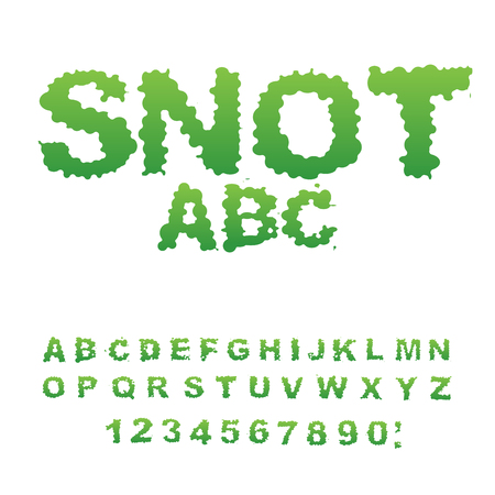 unpleasant: Snot font. Snivel alphabet. Green slime letters. Booger ABC. Slippery lettering. Mucus typography