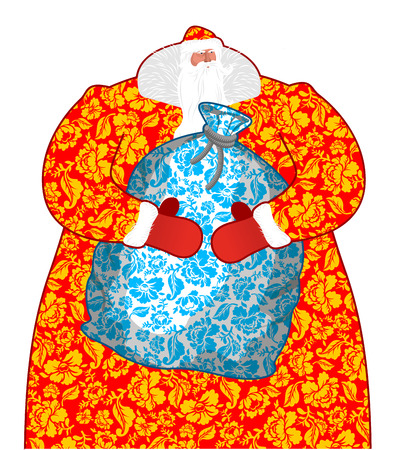 Santa Claus in Russia. Father Frost costume painting Khokhloma national pattern. Big bag with gifts. Full sack gzhel ornament folk texture. Christmas character. Illustration for new year