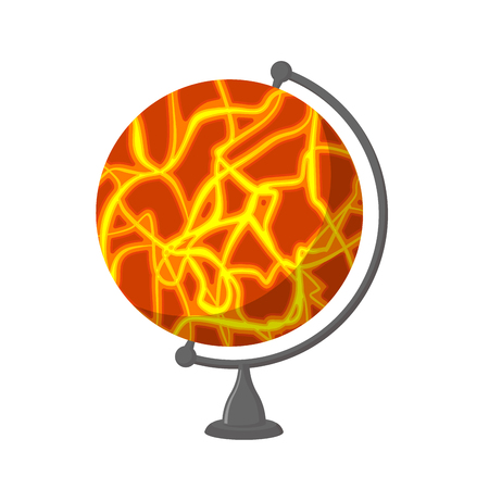 Mars School Globe. Planet geographical sphere. Model of red planet. Astronomical objects or celestial body Illustration