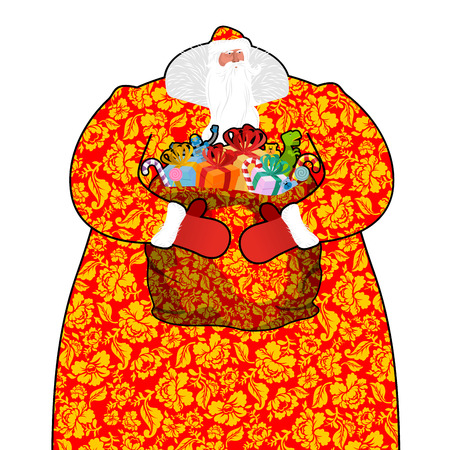 moroz: Santa Claus in Russia. Father Frost costume painting Khokhloma national pattern. Big bag with gifts. Full sack ornament folk texture. Christmas character. Illustration for new year