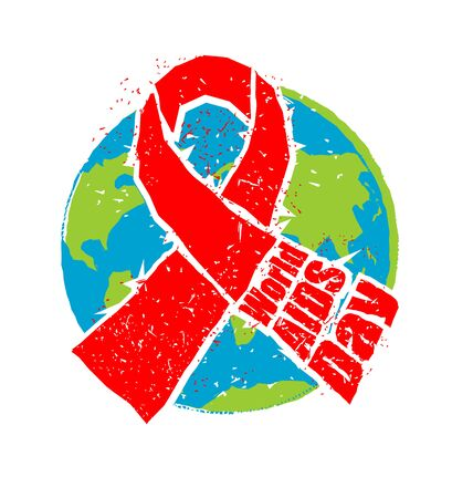aids awareness ribbon: World AIDS Day. Red ribbon in grunge style. Spray and scratches. Noise and brush strokes. Awareness of AIDS. Poster template concept for international event on December 1