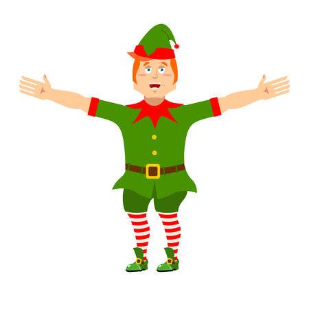 Happy Christmas elf. Jolly Santa Claus helper. Merry tiny man in green suit. XMAS character for new year Illustration