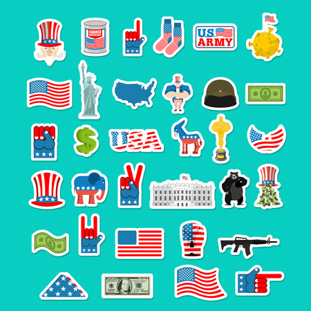 house donkey: USA icon. National sign of America. American flag and Statue of Liberty. White House and  dollar. Map of United States. Uncle Sam and moon. Elephant and donkey. Eagle and baribal bearl. traditional Patriotic symbol US
