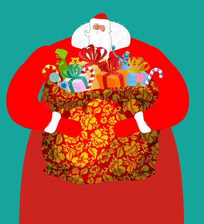 Santa from Russia -  father frost. Large sack of gifts for children. sackful Khokhloma painting. Christmas National folk Russian grandfather in red suit. Illustration for new year. Big bag with toys and sweets for babies Illustration